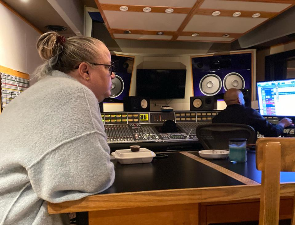Wendy Day, founder of Rap Coalition and PowerMoves, in the recording studio