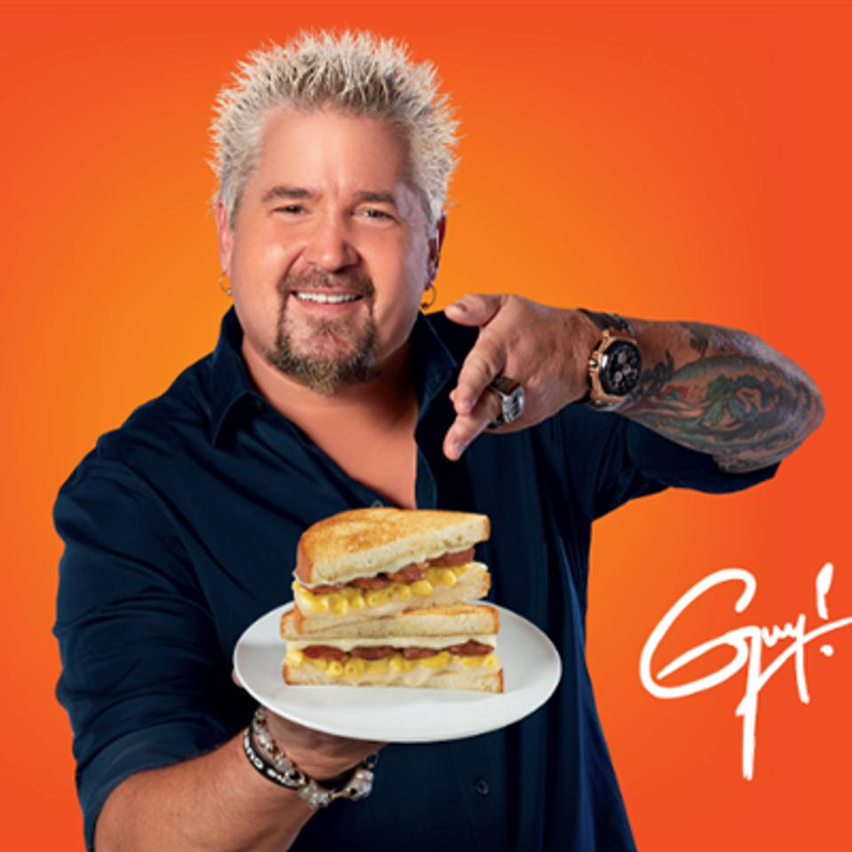 Guy Fieri with a grilled mac and cheese grilled sandwich for king's hawaiian
