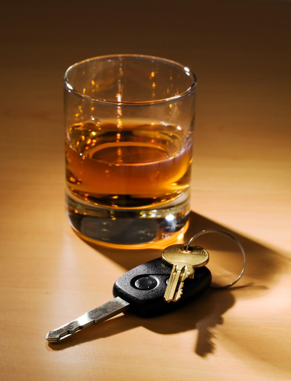 Photo of car keys and alcohol