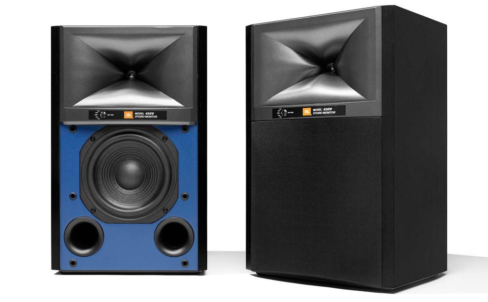 Two JBL 4309 speakers in black walnut with blue baffle