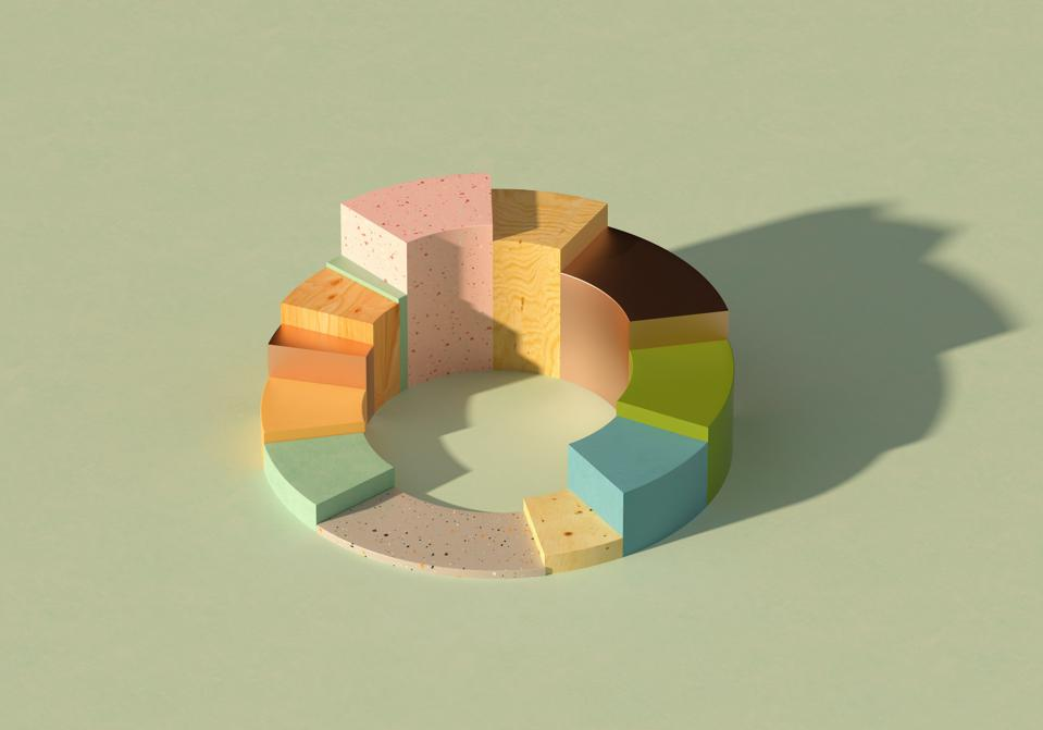 Multicolored donut/pie chart