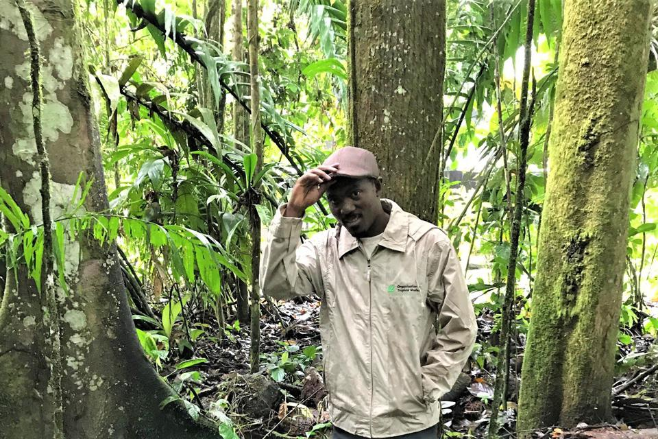 Charles Karangwa on a site visit to a forest in Costa Rica.