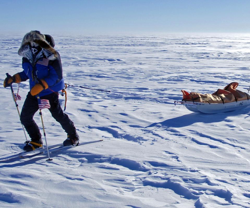 Alison Levine pulling her supply sled  Antartica 2008