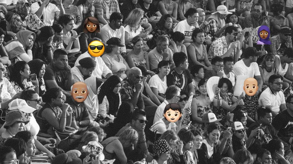 emoji placed on crowd of faces