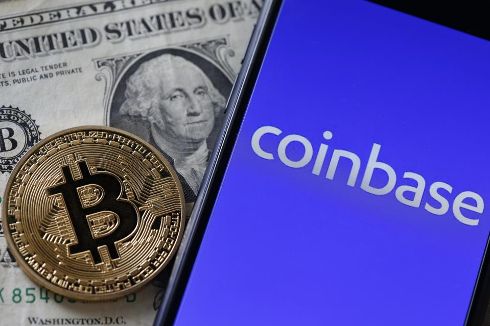 Coinbase Cryptocurrency Exchange Website And Novelty Coins : Illustration
