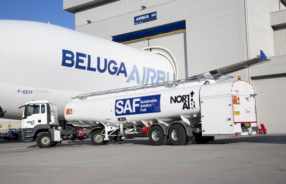Airbus is loading one of its Beluga oversize cargo planes with 35% sustainable aviation fuels (SAF).