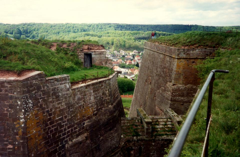 The small French town of Bitche, seen through the massive walls of its citadel