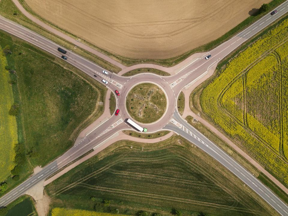 Roundabout between fields from above, Germany