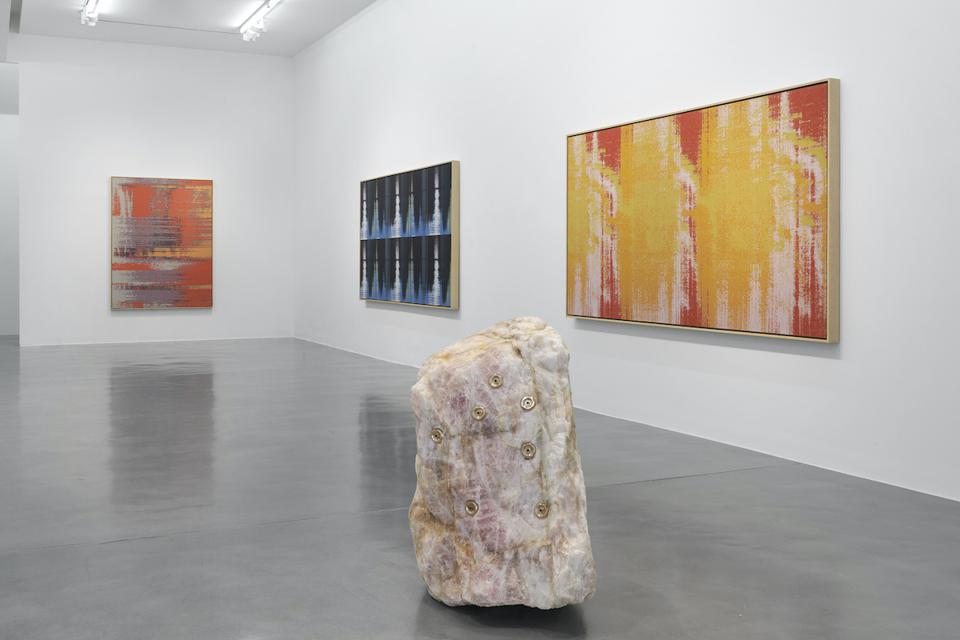 three paintings and sculpture
