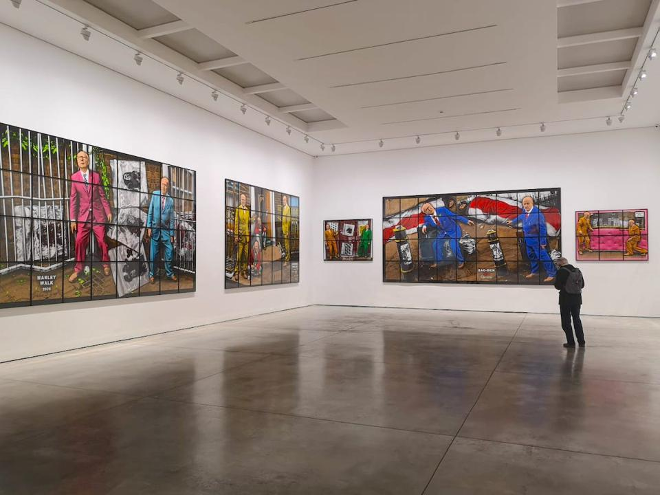 large colorful pictures in art gallery