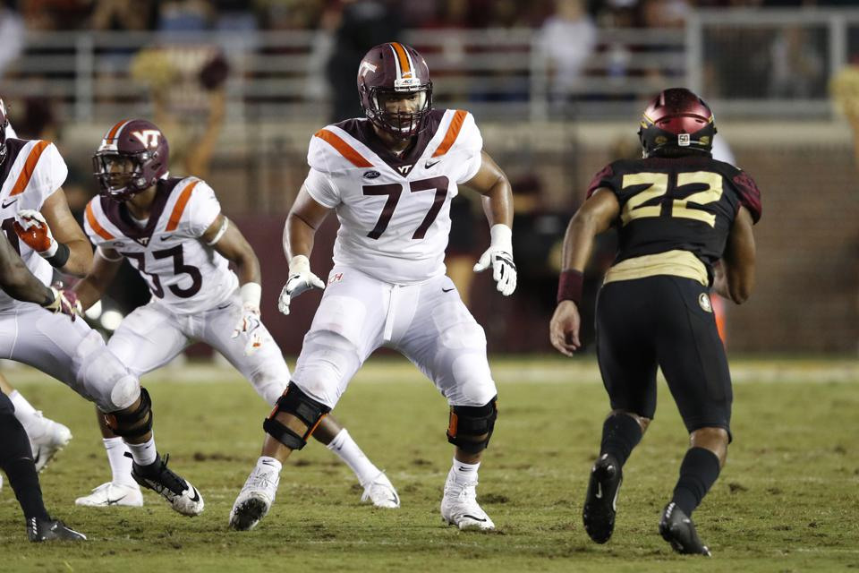 TALLAHASSEE, FL - SEPTEMBER 03: Christian Darrisaw #77 of the Virginia Tech Hokies in action during the game against the Florida State Seminoles at Doak Campbell Stadium on September 3, 2018 in Tallahassee, Florida. Virginia Tech won 24-3. (Photo by Joe Robbins/Getty Images)