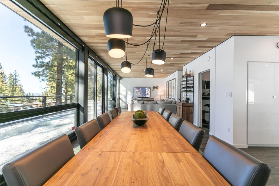 dining room inside The Container | A Modern Marvel tahoe truckee mountainside