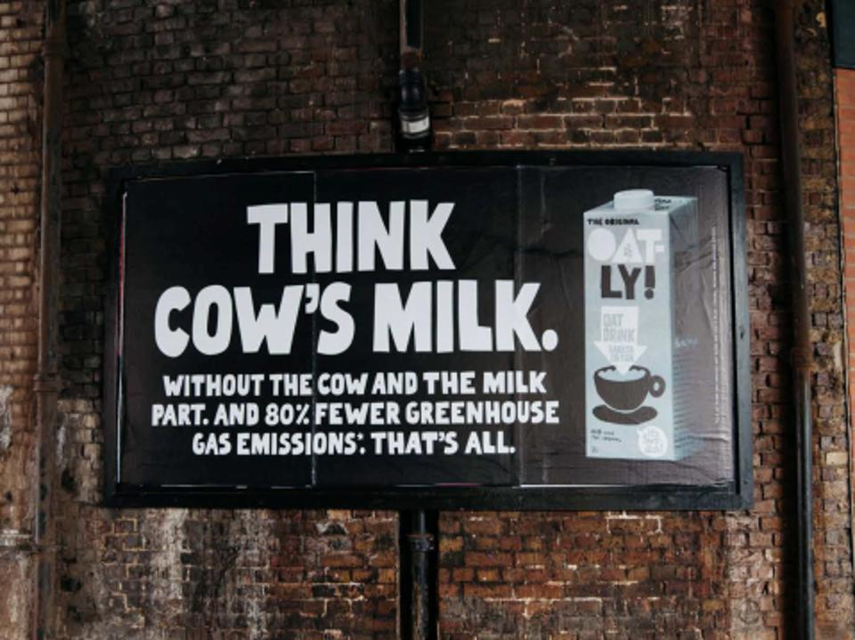 Every litre of Oatly consumed in place of cow's milk results in 80% less greenhouse gas emissions.