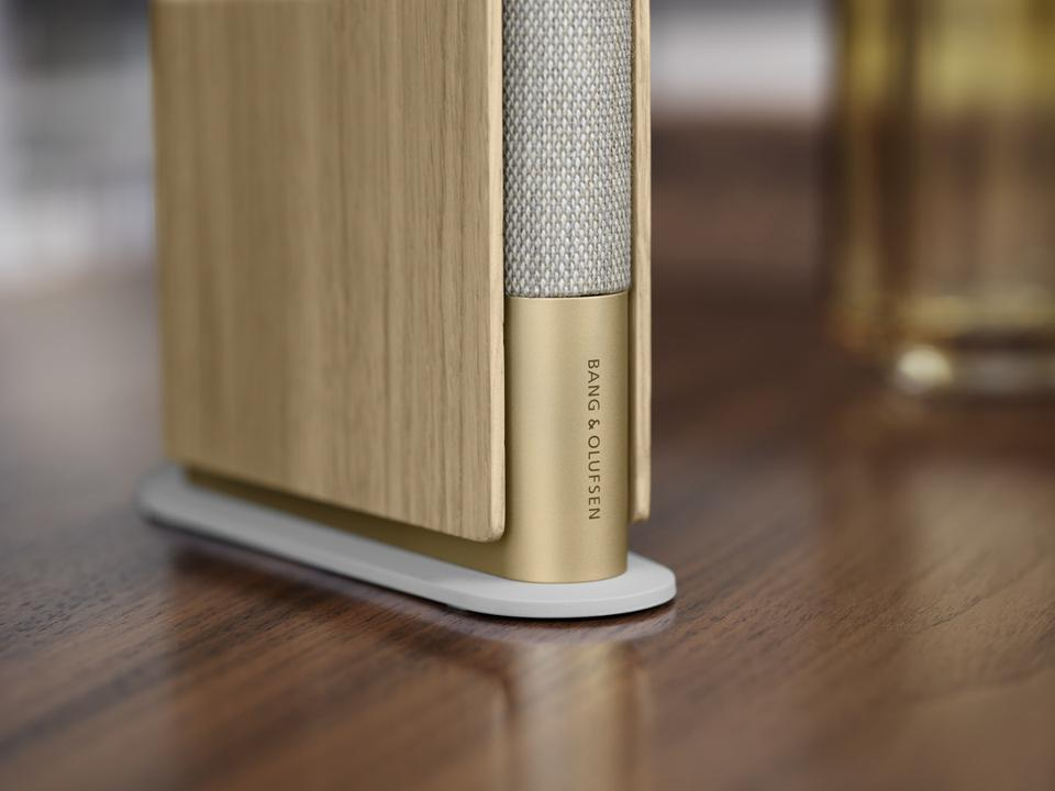 Close up of the base of Gold Tone Beosound Emerge