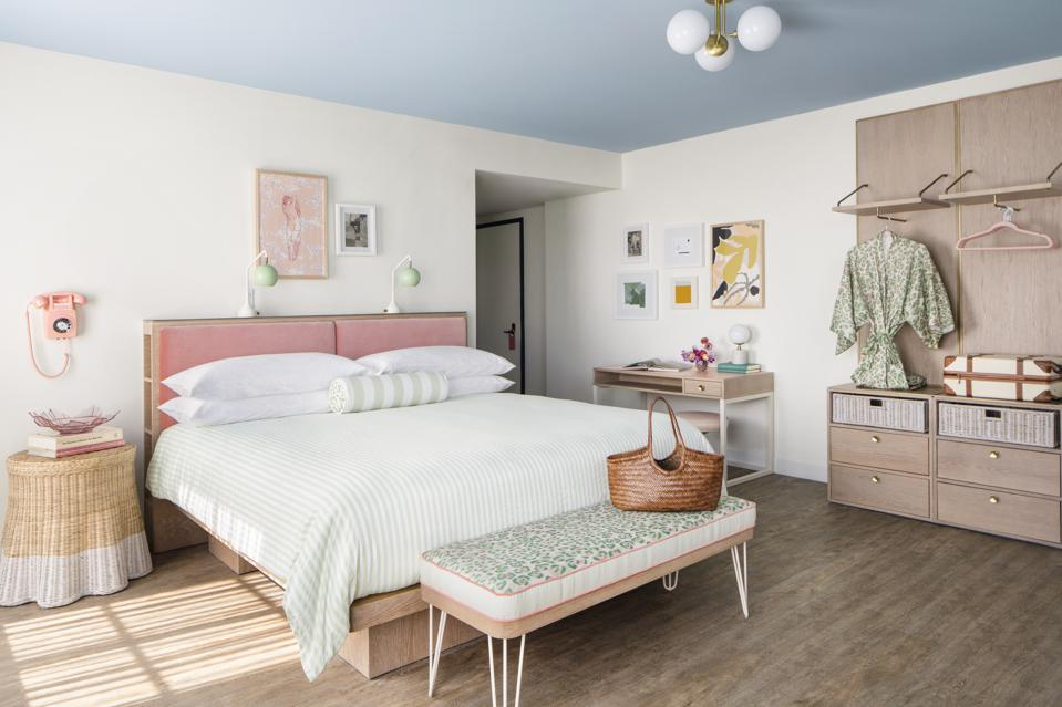 Rooms have a retro and pastel aesthetic