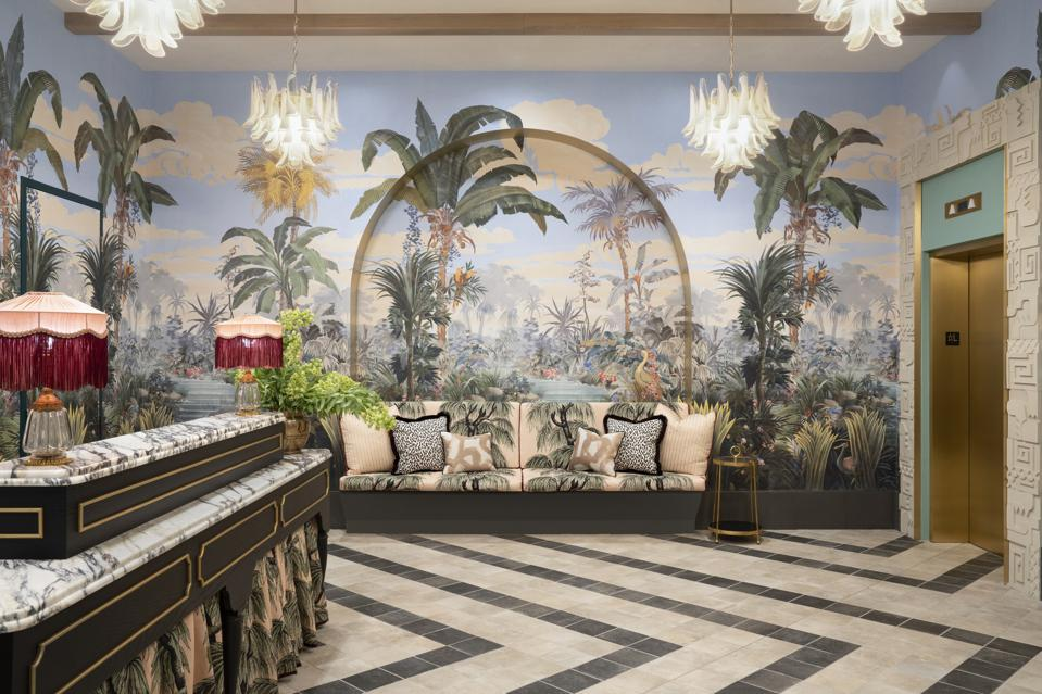 The Goodtime Hotel's vintage tropical chic lobby.