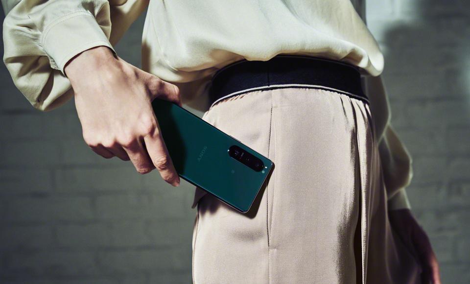 Sony Xperia 5 III in green finish.
