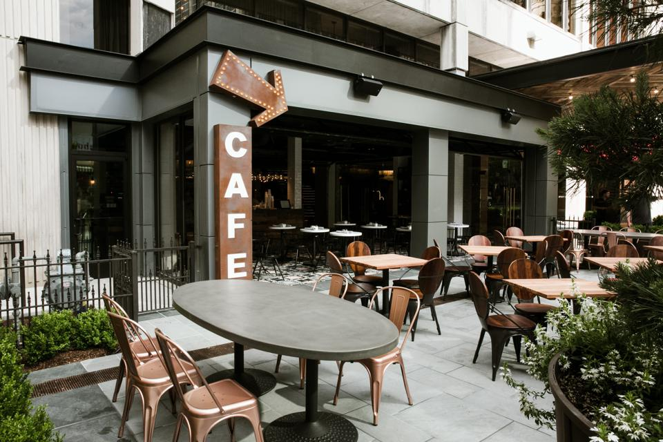 An outside dining area at the Bobby Hotel.