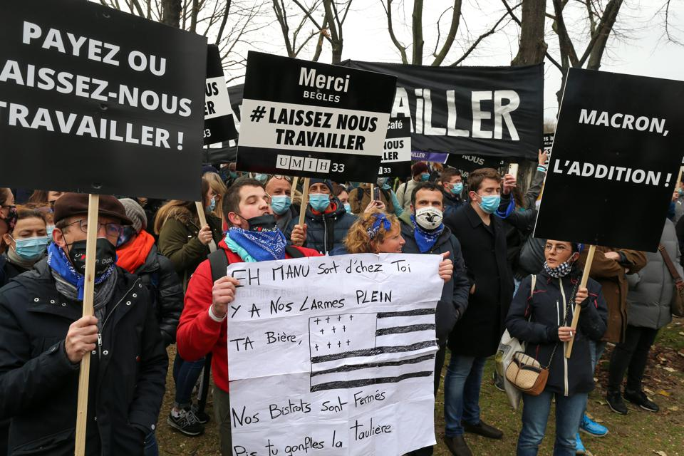 Demonstrations In Paris Against restaurants Closures Due To  COVID