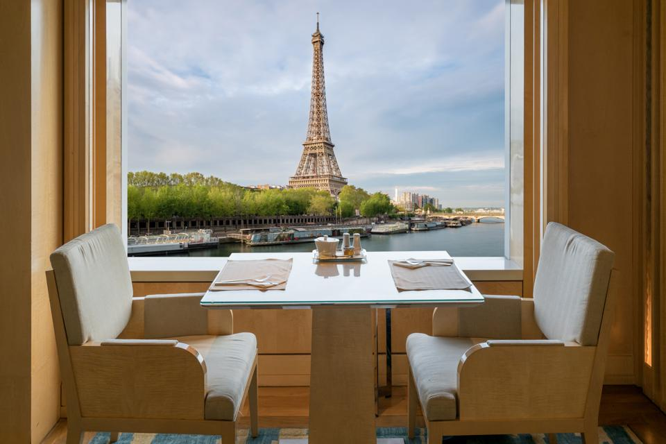 Empty restaurant with a view in Paris.