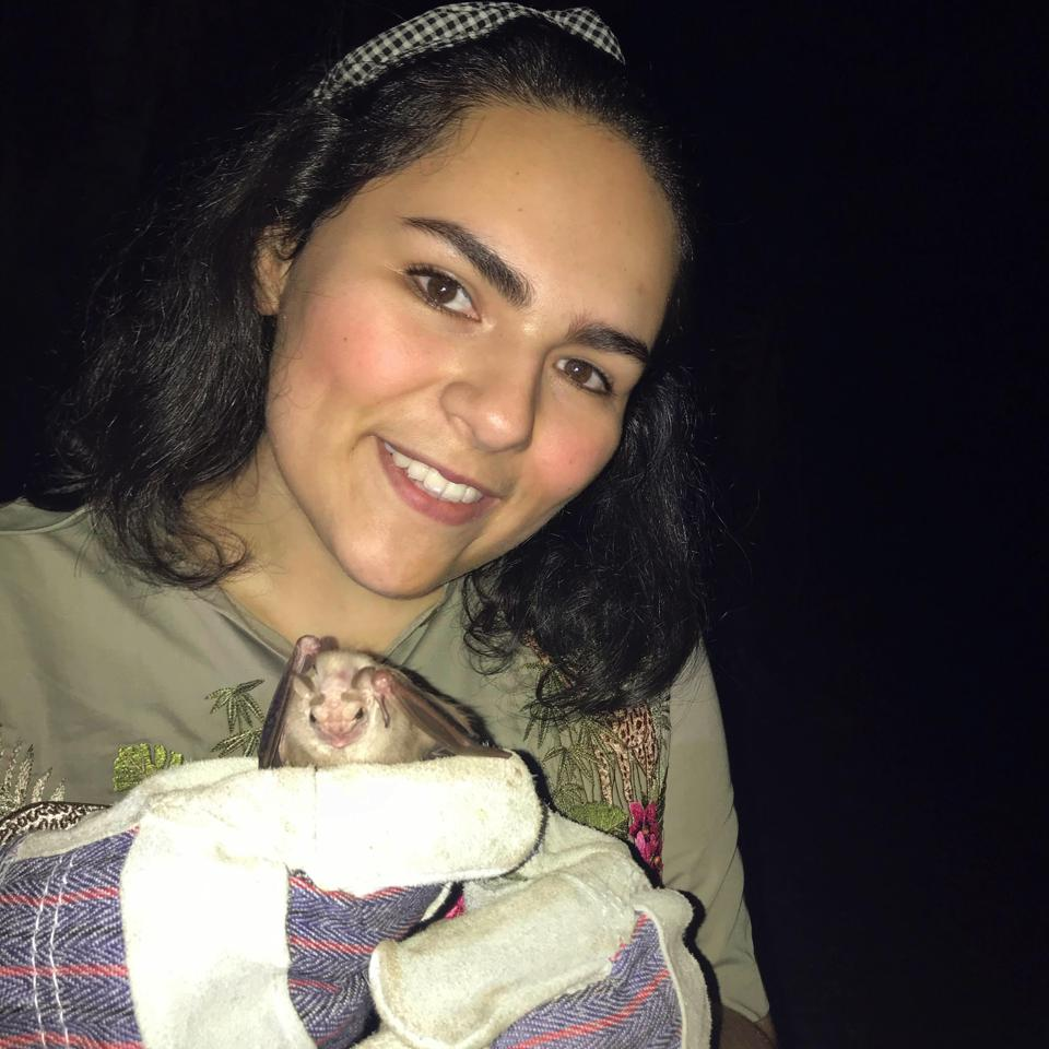 Guatemalan biologist Ana Lucía Arévalo holding a Centurio senex bat