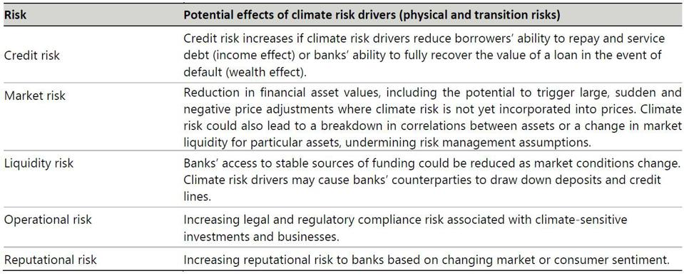Physical and transition climate risk drivers