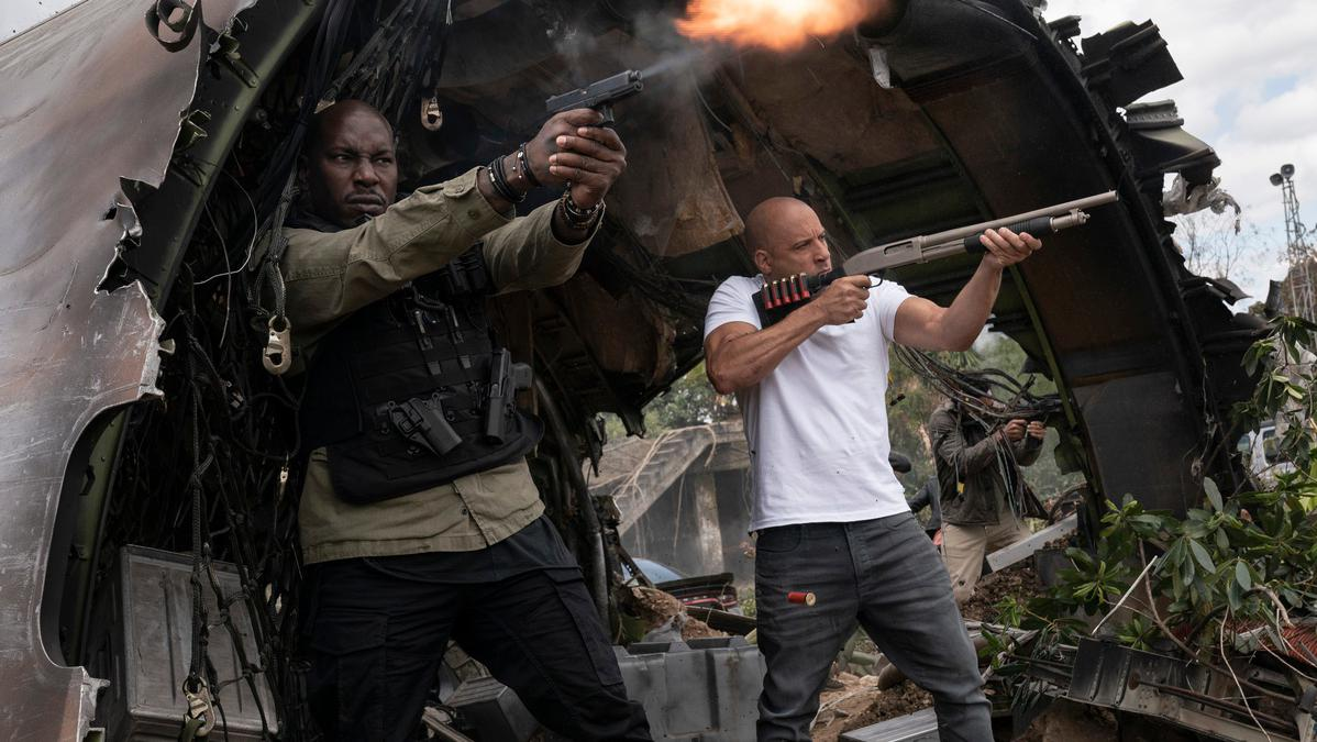 (from left) Roman (Tyrese Gibson) and Dom (Vin Diesel) in ″F9,″ directed by Justin Lin.