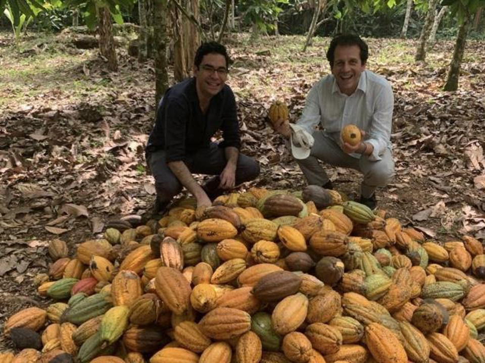 Ben Black & Eric Melloul visiting one of Tony's Chocolonely's cocoa plantation partners in Ghana.