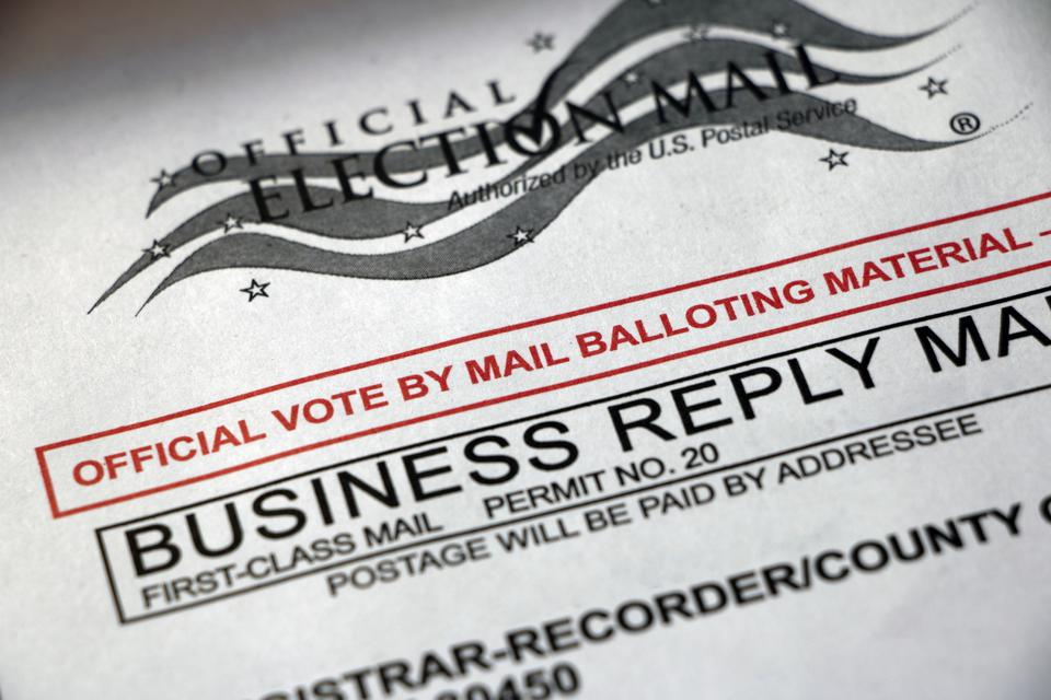 Closeup of Vote by Mail envelope