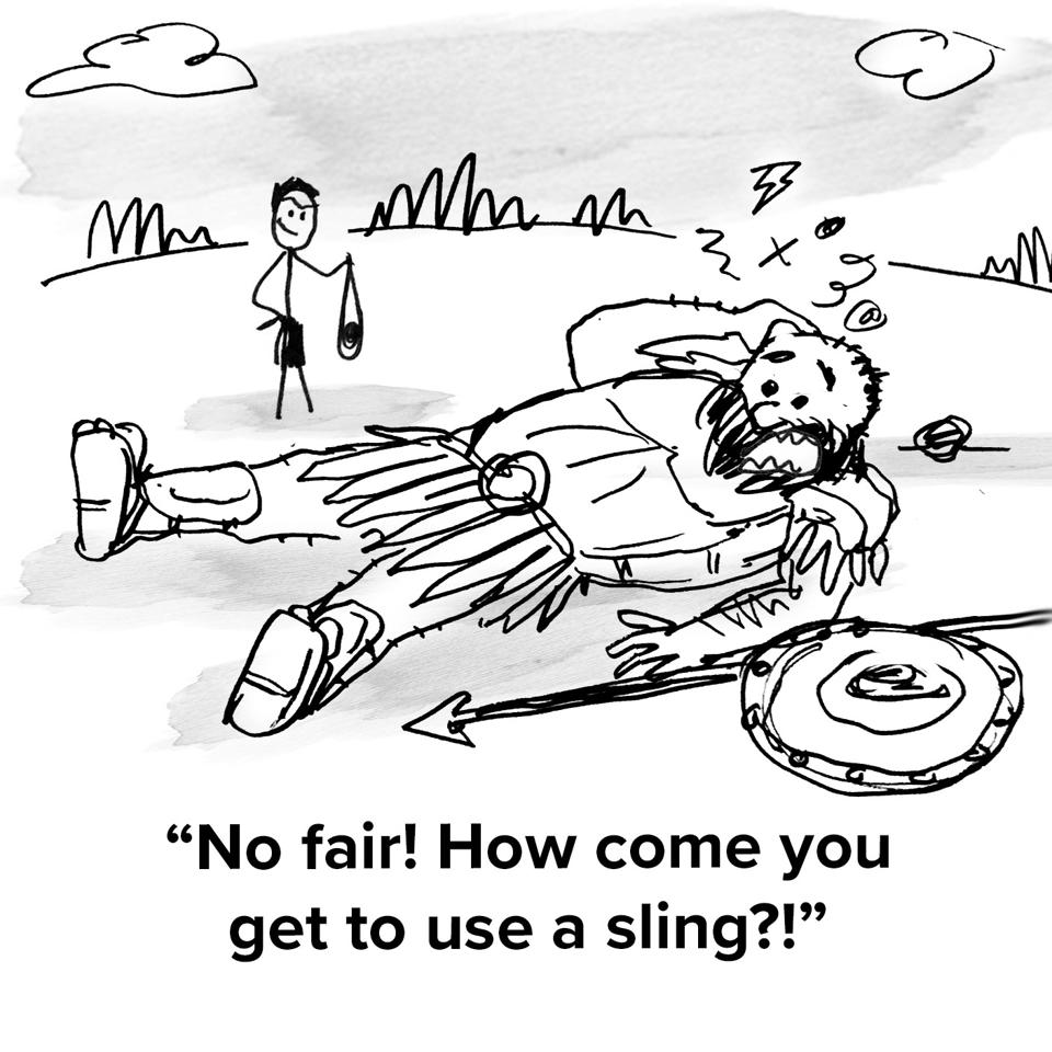 Goliath the giant on the ground bested by David and the giant is saying ″hey no fair! How come you get to use a sling?!″