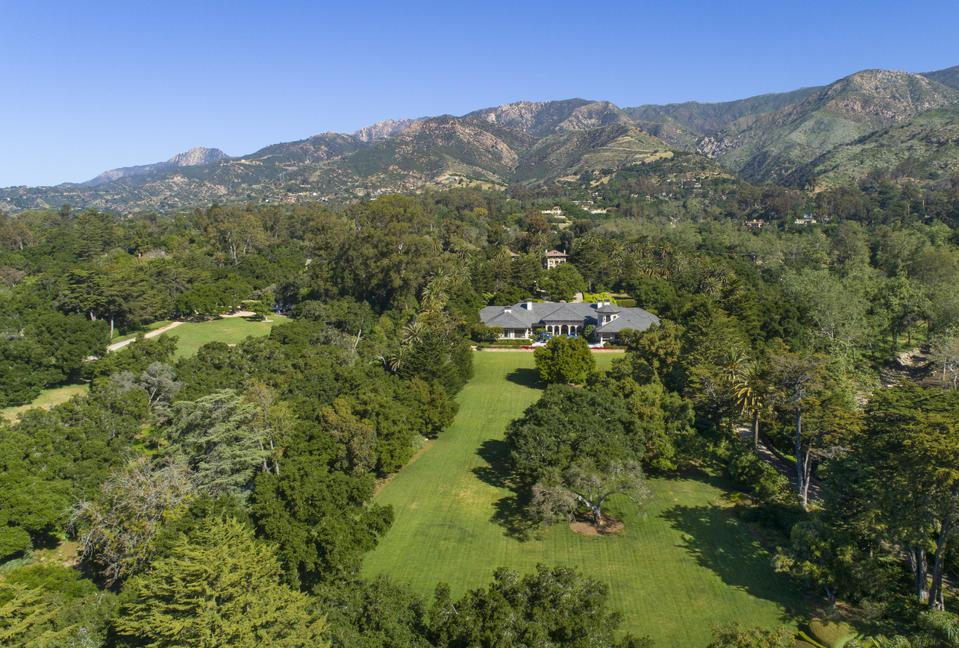 aerial view montecito compound on sycamore canyone road luxury home