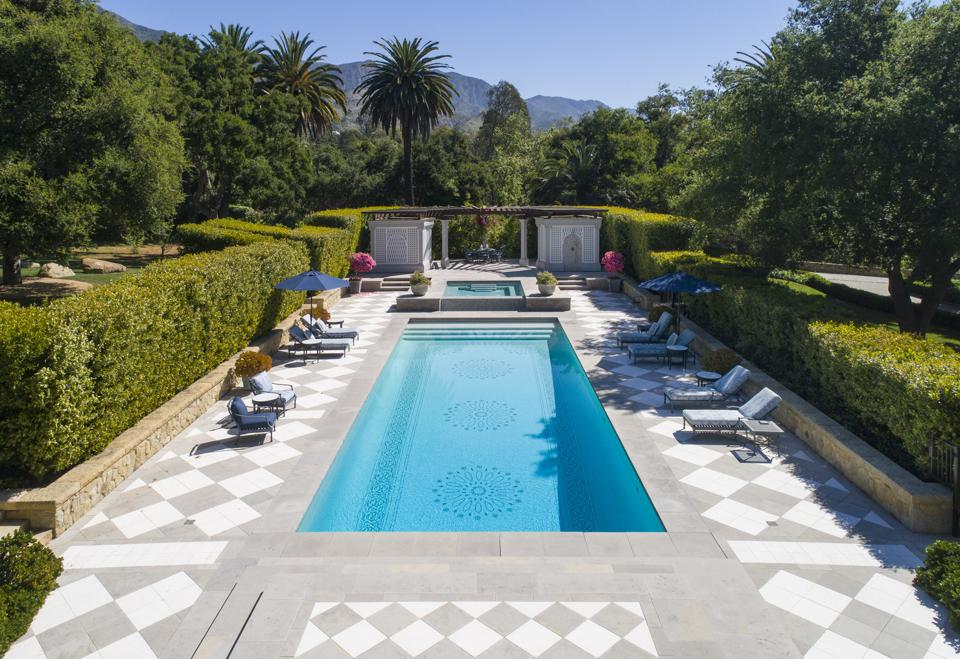 swimming pool and spa luxury montecito home sycamore canyon road