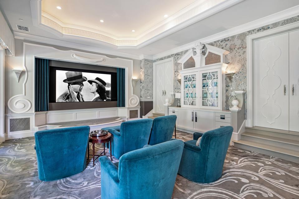 home theater montecito luxury home