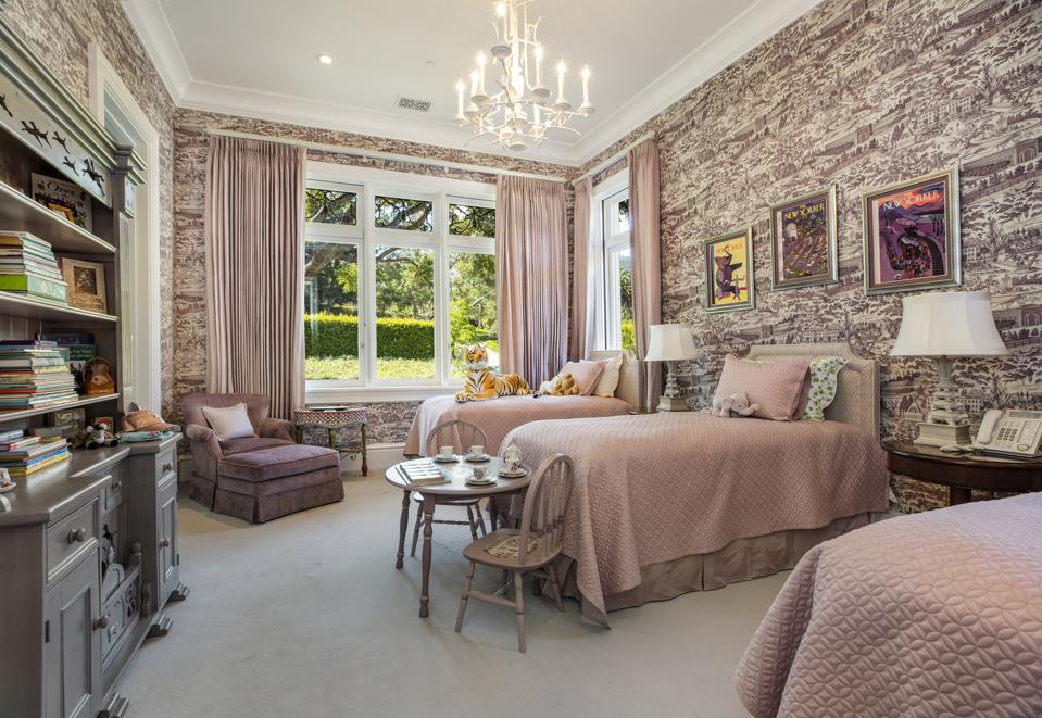 plum colored bedroom montecito luxury home