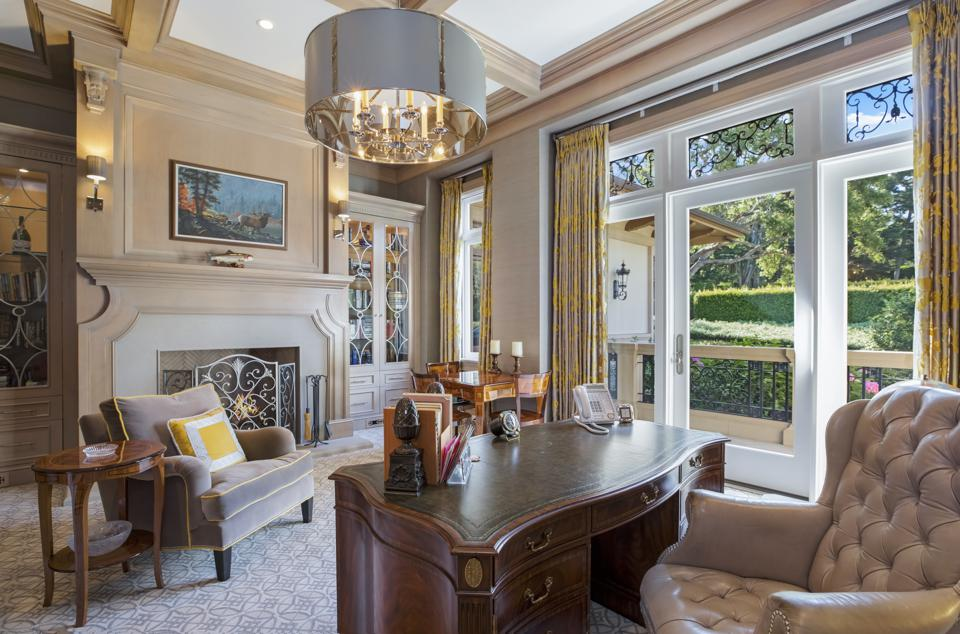 office inside montecito luxury home santa barbara sycamore canyon road