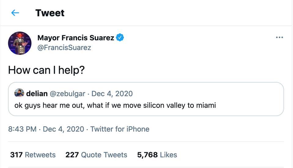 Miami Mayor Suarez tech silicon valley
