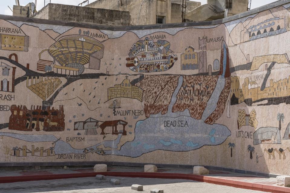 A mosaic tile map of Jordan.
