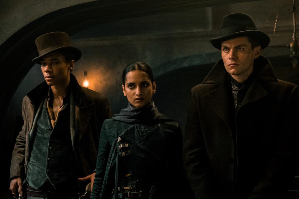 Kit Young, Amita Suman and Freddy Carter in 'Shadow and Bone' on Netflix.
