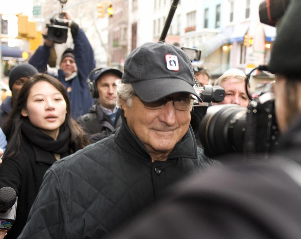 Bernard L Madoff walks down Lexington Av