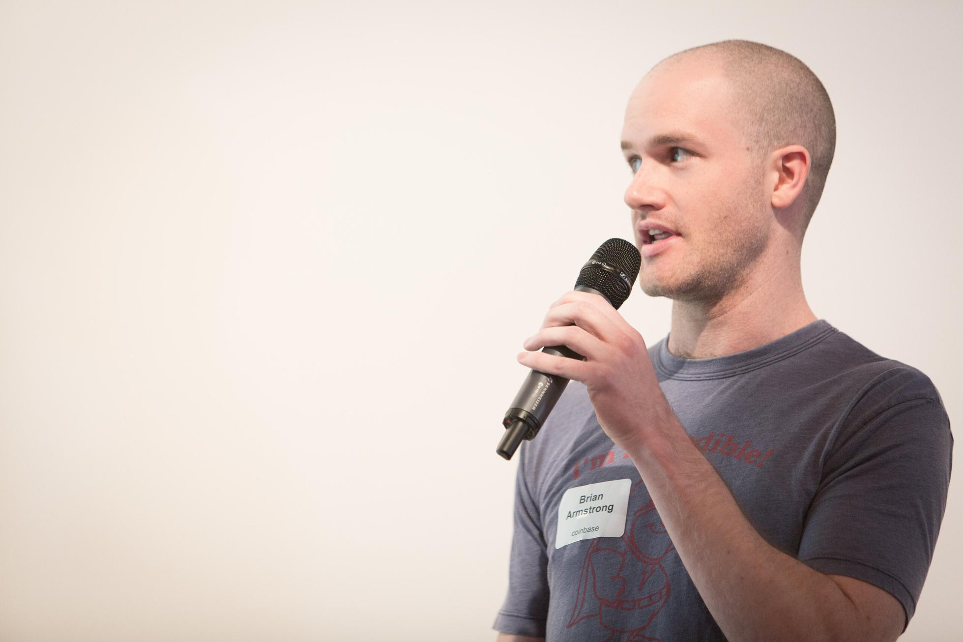 Brian Armstrong presenting at Y Combinator in 2012.