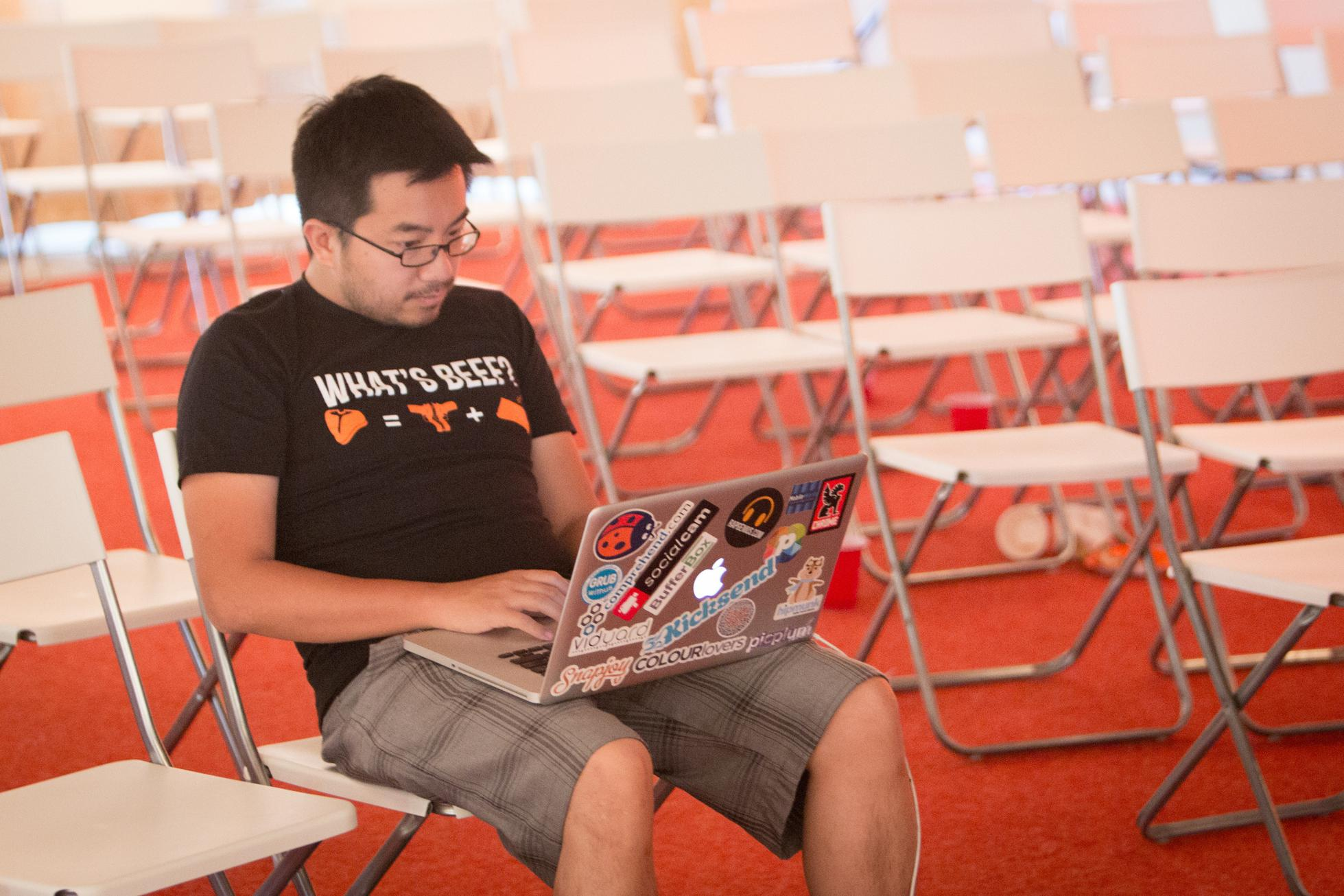 Garry Tan in the run up to Y Combinator's demo day in 2012, as taken by Brian Armstrong.