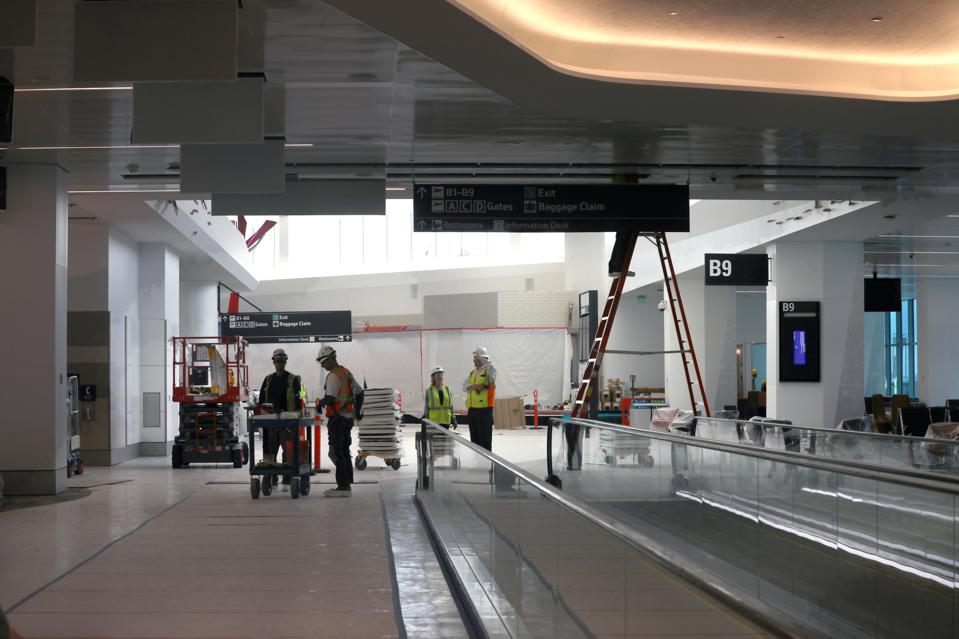 View of walkway between gates B9 and B10 at the new Harvey Milk Terminal 1 at SFO on Tuesday, June 25, 2019 in South San Francisco, Calif.  The new Harvey Milk Terminal 1 at SFO will open July 23 and debuts five new permanent works of public art as well a