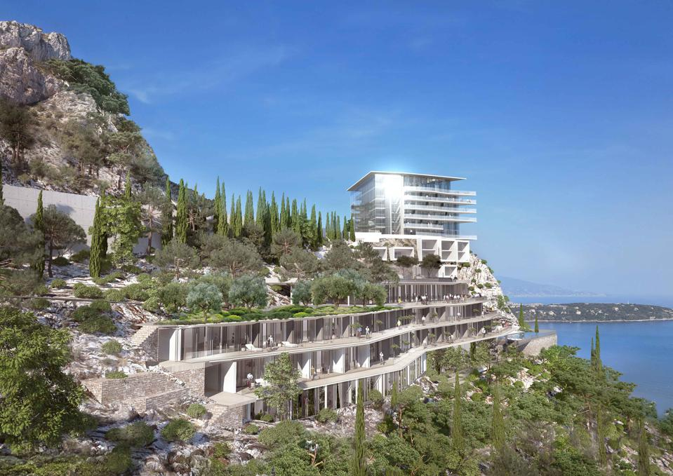 Rendering of the gardens of the upcoming new Vista Palace in Roquebrune-Cap-Martin overlooking Monaco