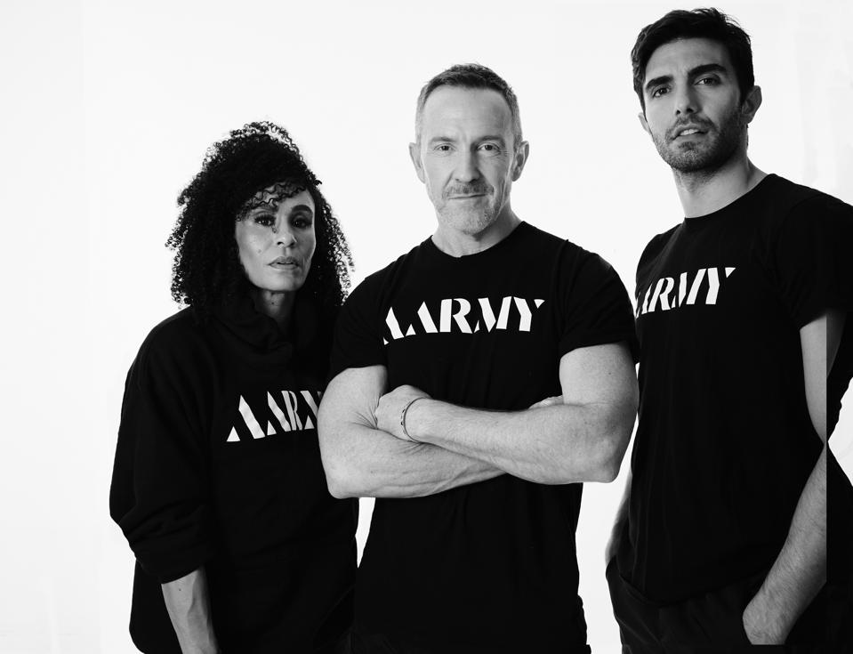 AARMY co-founder coaches Akin Akman, right and Angela Manuel-Davis left with co-founder brand strategist Trey Laird, middle.