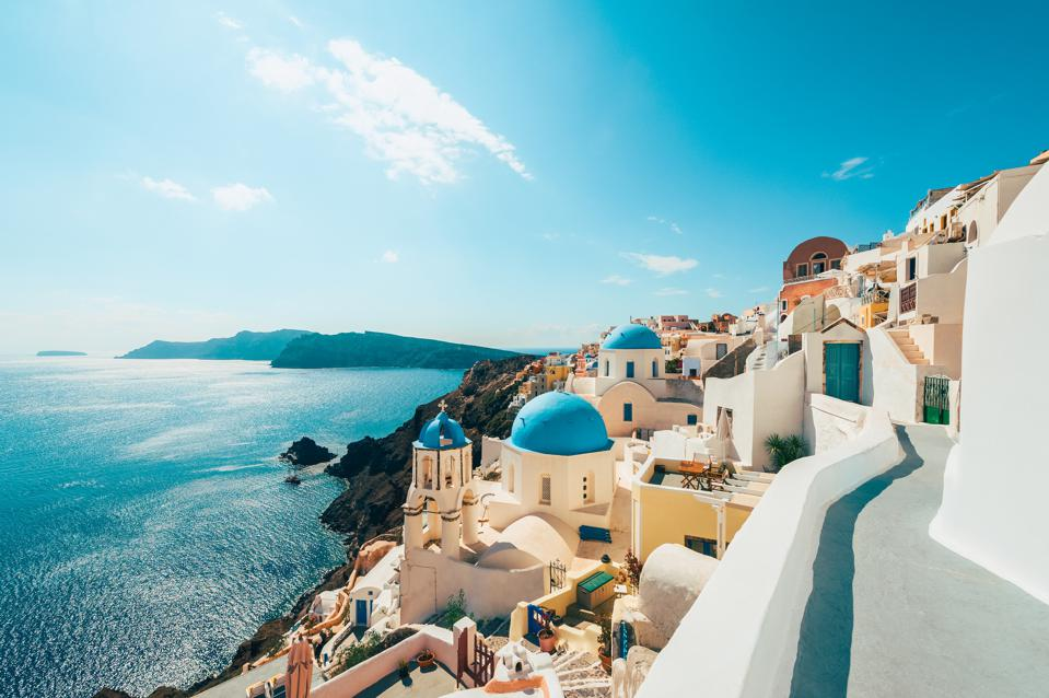 Santorini in Greece–one of the first countries expected to open to U.S. travelers