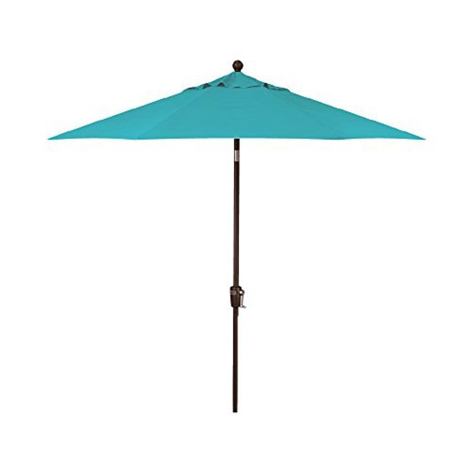 9-Foot Treasure Garden (Model 920) Push Button-Tilt Market Umbrella with Bronze Frame and Obravia2 Fabric: Aqua