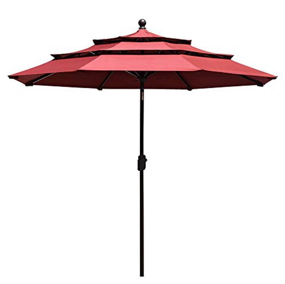 EliteShade Sunbrella 9Ft 3 Tiers Market Umbrella Patio Outdoor Table Umbrella with Ventilation and 5 Years Non-Fading Top,Burgundy