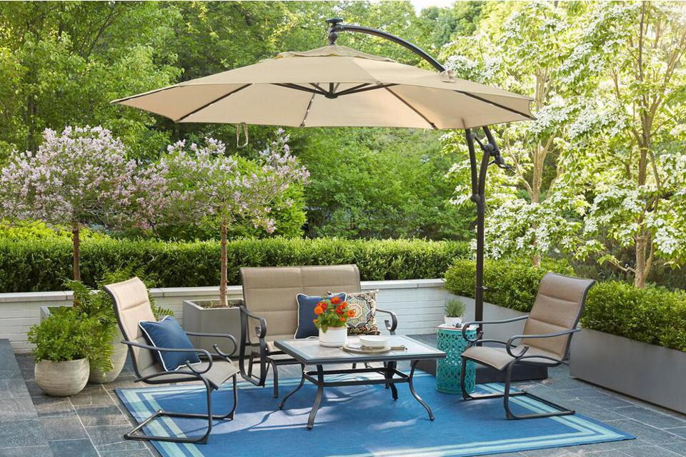11 ft. Aluminum Cantilever Solar LED Offset Outdoor Patio Umbrella in Putty Tan