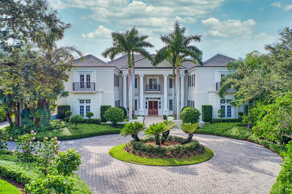 front entry motor court vero beach mansion john's island  131 Gem Island Drive