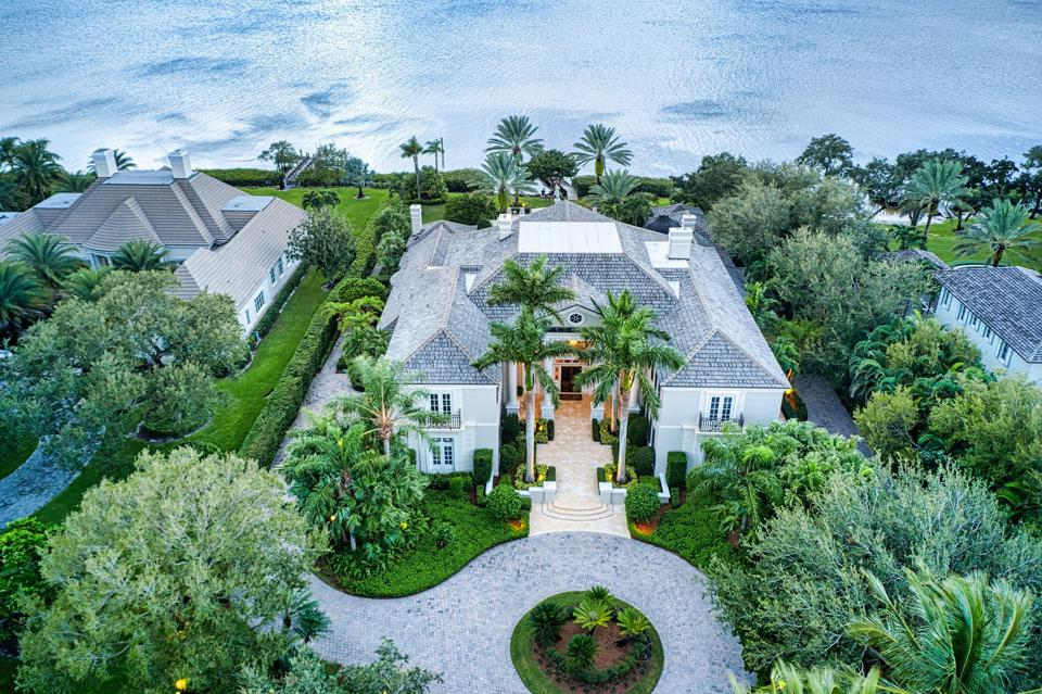 aerial view of 131 Gem Island Drive Vero Beach, FL, United States mansion and waterway